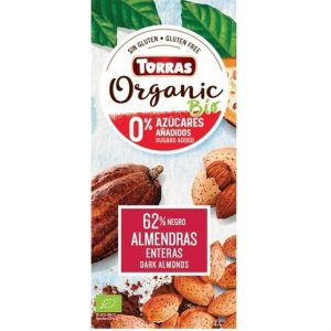 Torras Bio temna čokolada (62% kakava) z mandlji in s sladilom 150 g